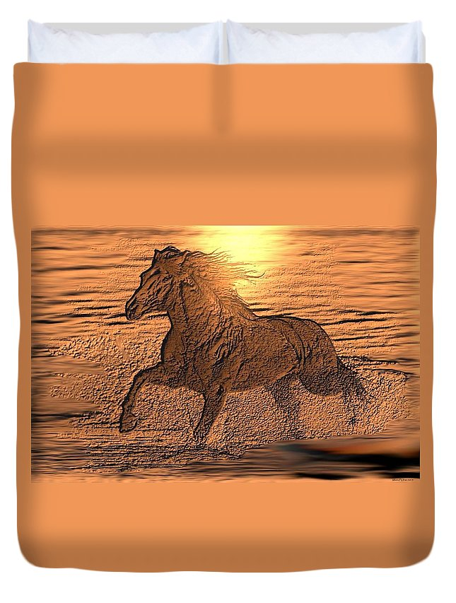 Andalusian Sunset Duvet Cover featuring the digital art Andalusian Sunset by Maria Urso