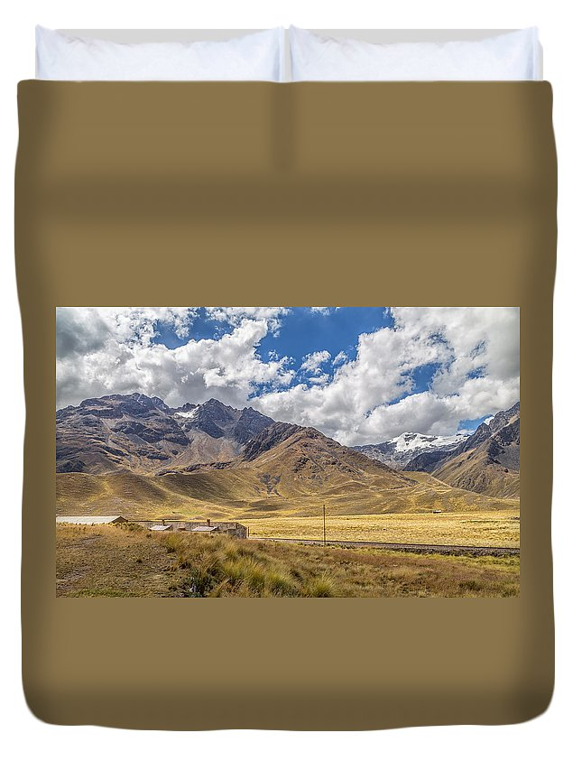 Peru Duvet Cover featuring the photograph Andes Mountains - Peru by Christian Tuk