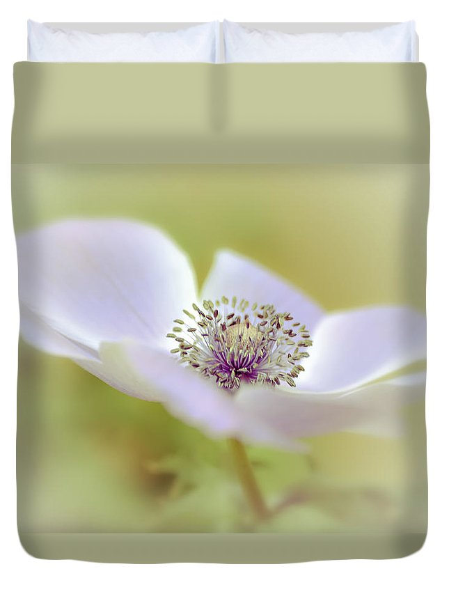 Macro Duvet Cover featuring the photograph Anemone In White by Julie Palencia