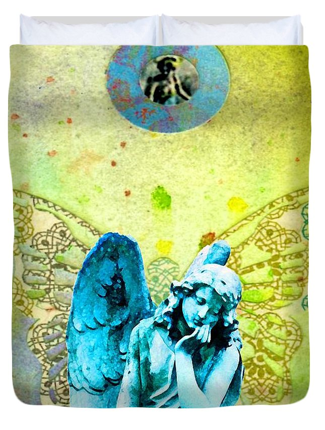 Angel Blessings 3 Duvet Cover featuring the painting Angel Blessings 3 by Desiree Paquette