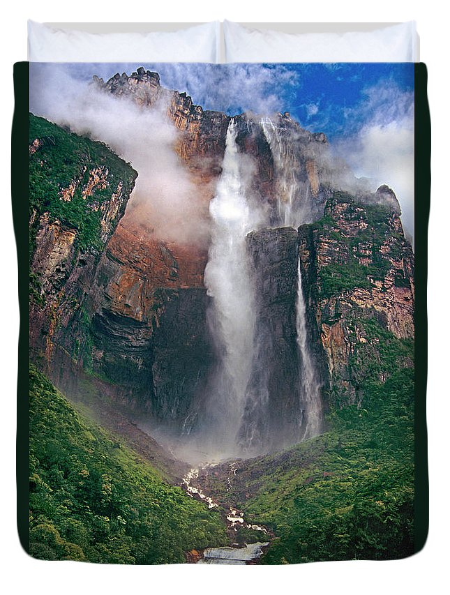 Angel Falls Duvet Cover featuring the photograph Angel Falls In Venezuela by Dave Welling