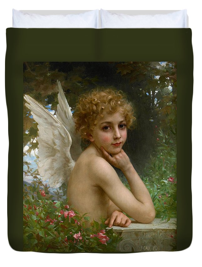 Allegory Duvet Cover featuring the painting Angel by Jules Cyrille Cave
