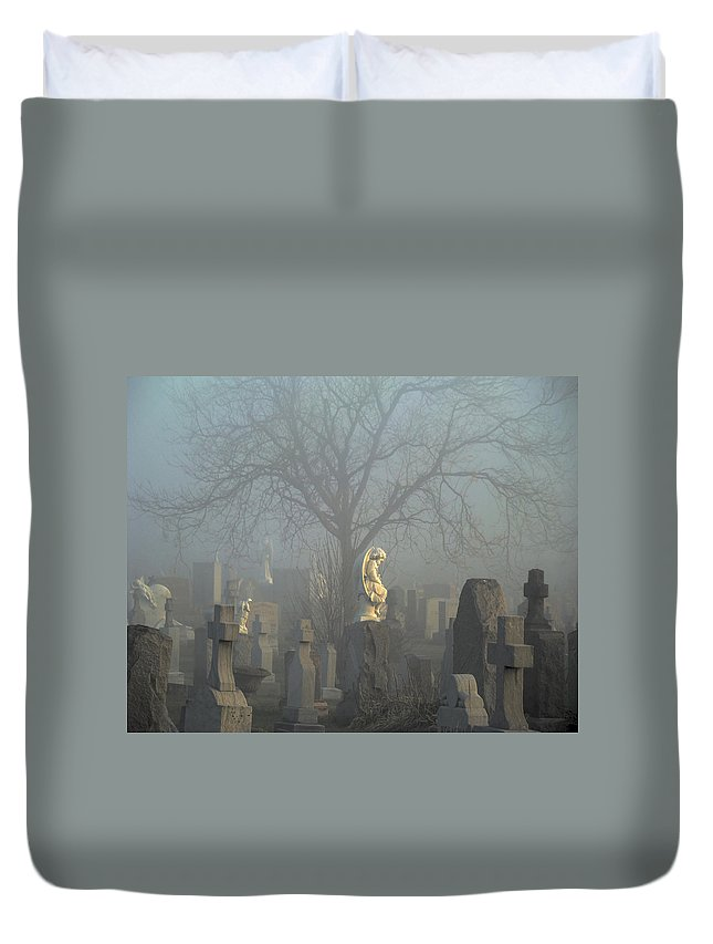 Blue Duvet Cover featuring the photograph Angel Mist Cemetery by Gothicrow Images