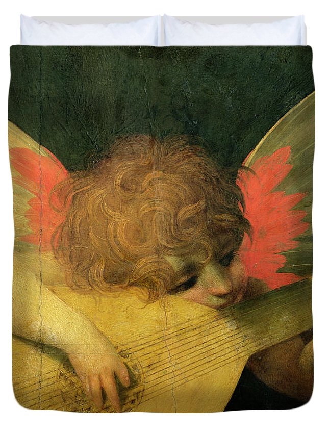 Putto Duvet Cover featuring the painting Angel Musician by Giovanni Battista Rosso Fiorentino