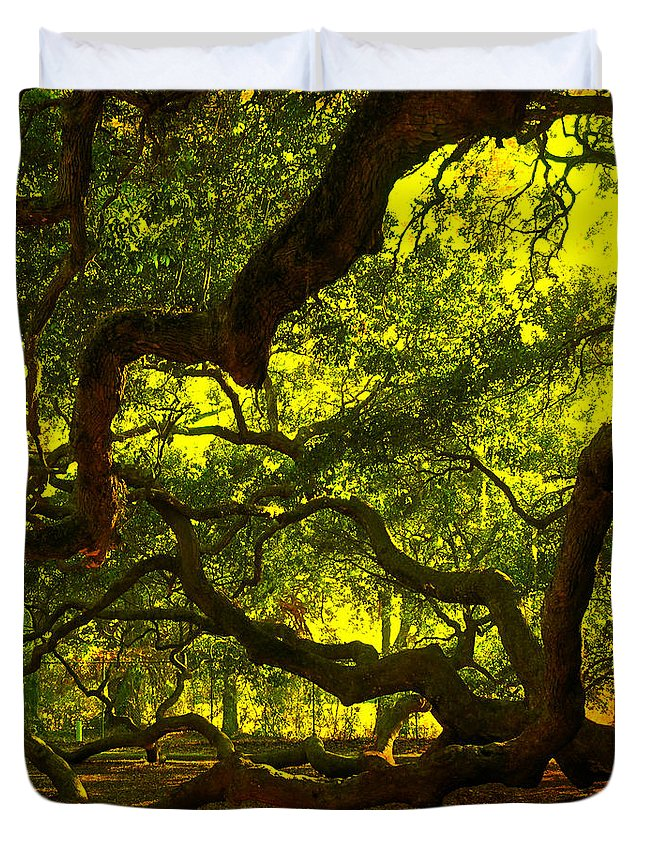 Angel Oak Duvet Cover featuring the photograph Angel Oak Limbs Crop 40 by Susanne Van Hulst
