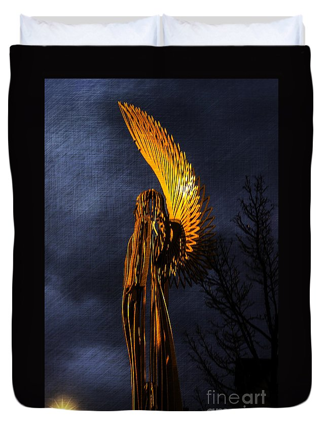 Angel Of Bargoed Duvet Cover featuring the photograph Angel Of The Morning Textured by Steve Purnell