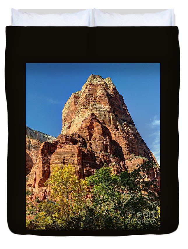 Angel Duvet Cover featuring the photograph Angel's Landing In Fall - Zion National Park by Gary Whitton