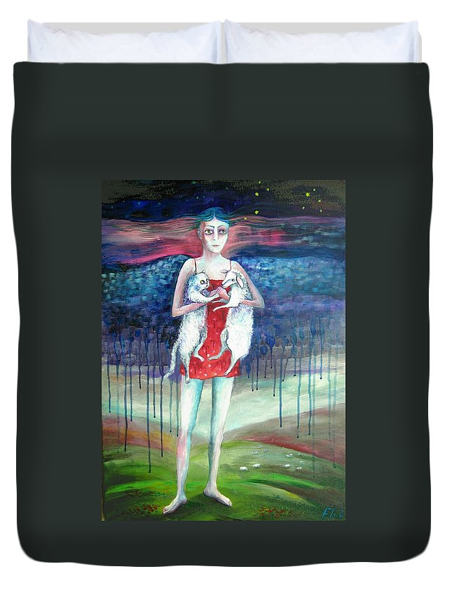Modern Art Duvet Cover featuring the painting Angels Of Zodiac. Aries The Ram by Elisheva Nesis