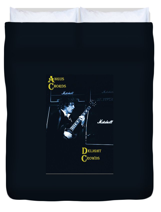 Angus Young Duvet Cover featuring the photograph Angus Chords Delight Crowds In Blue by Ben Upham