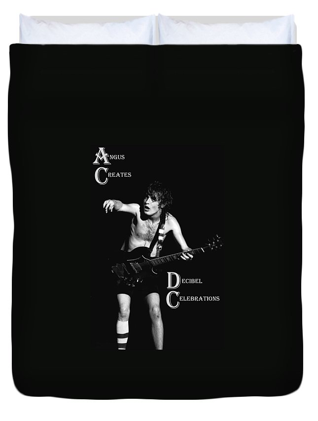 Angus Young Duvet Cover featuring the photograph Angus Creates Decibel Celebrations by Ben Upham