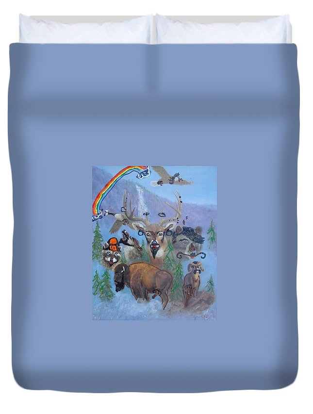 Dear Duvet Cover featuring the painting Animal Equality by Lisa Piper