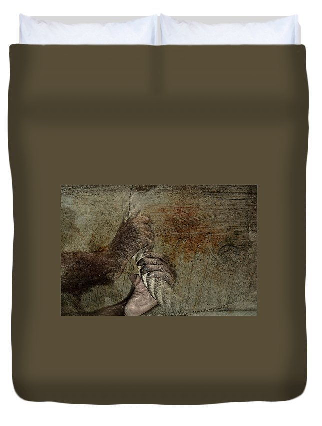 Nature Duvet Cover featuring the mixed media Animal Welfare by Heike Hultsch