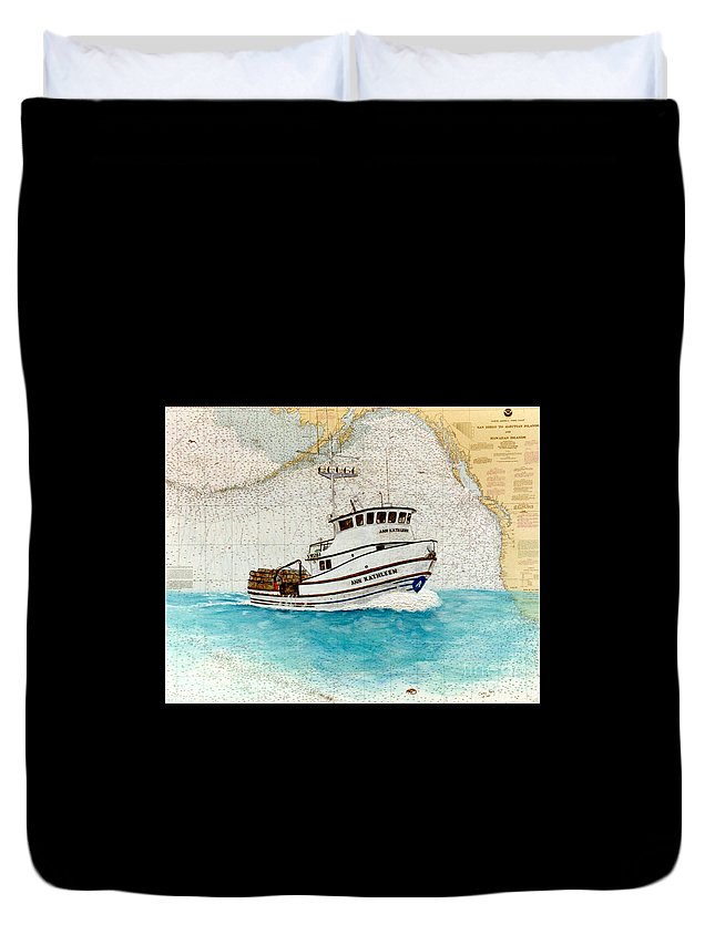 Ann Duvet Cover featuring the painting Ann Kathleen Crab Fishing Boat Nautical Chart Map Art by Cathy Peek