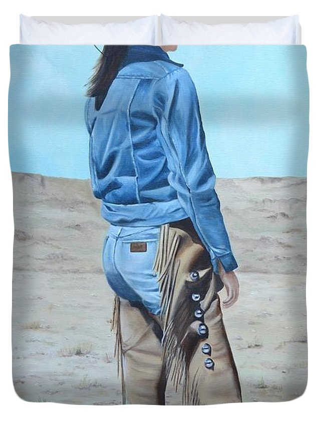 Ranch Duvet Cover featuring the painting Anna After The Ride by Mary Rogers