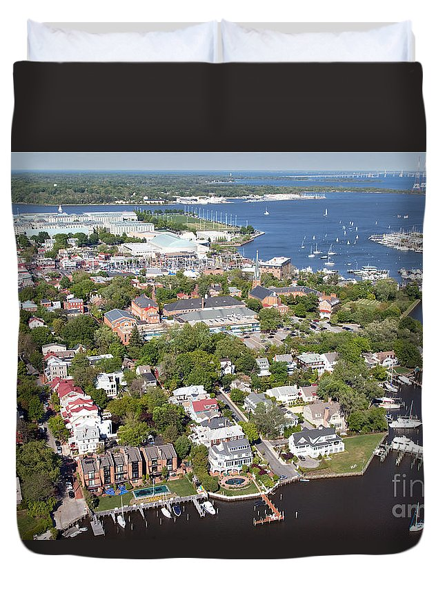 Aerial Duvet Cover featuring the photograph Annapolis by Bill Cobb