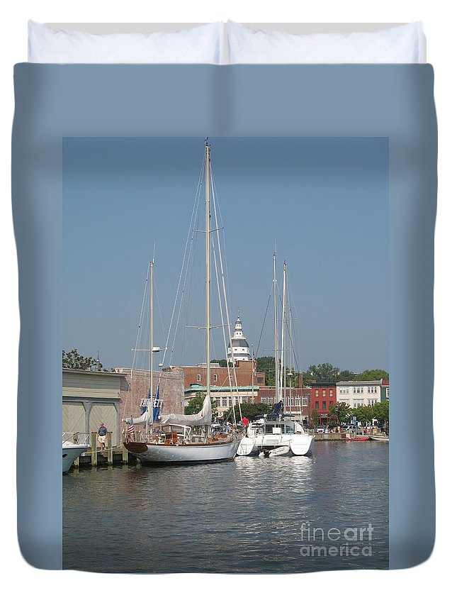 Harbor Duvet Cover featuring the photograph Annapolis Harbor Alongside Dock Street by Christiane Schulze Art And Photography