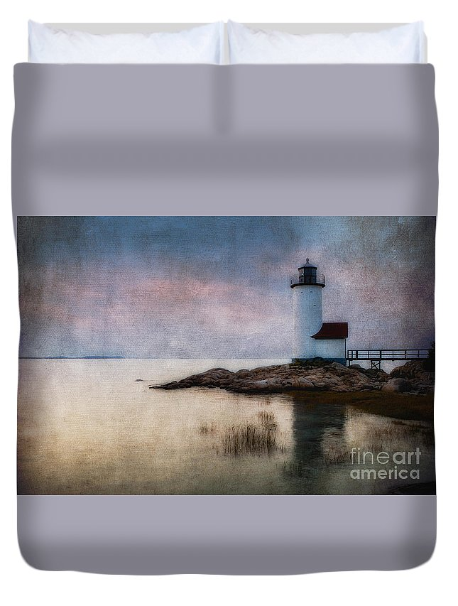 Annisquam Duvet Cover featuring the photograph Annisquam Harbor Lighthouse by Jerry Fornarotto