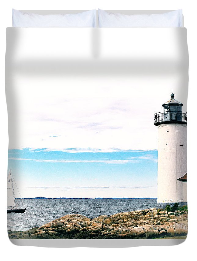 Lighthouse Duvet Cover featuring the photograph Annisquam Lighthouse by Traci Law