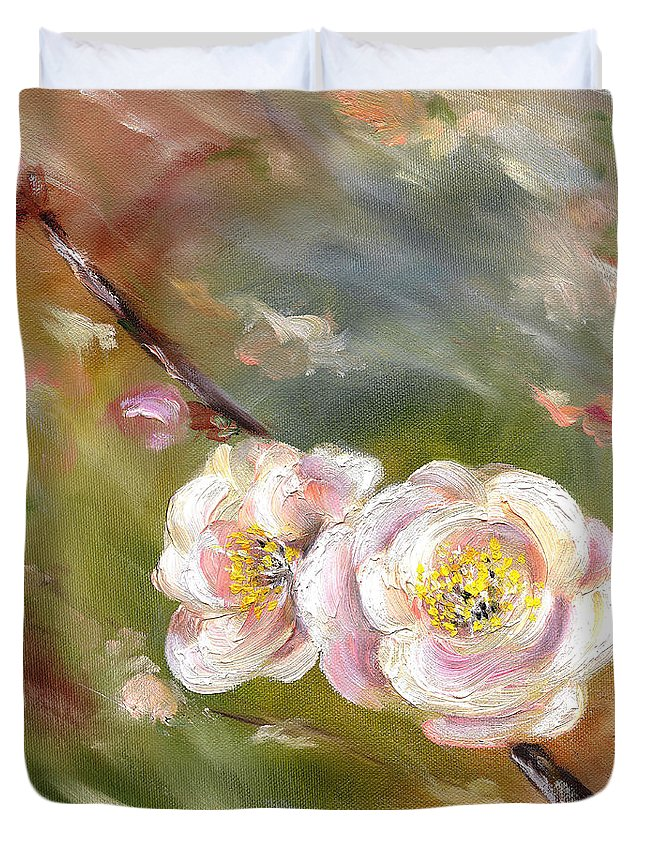 Flower Duvet Cover featuring the painting Anniversary by Hiroko Sakai