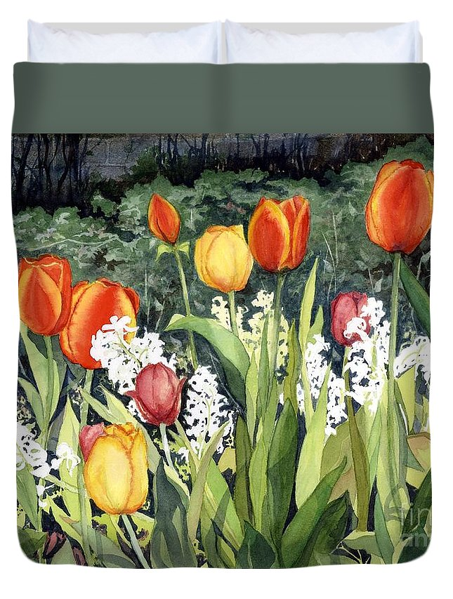 Flowers Duvet Cover featuring the painting Ann's Tulips by Barbara Jewell
