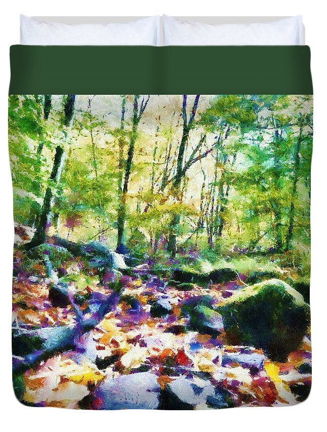 Sacredlife Mandalas Duvet Cover featuring the painting Another Enchanted Forest by Derek Gedney
