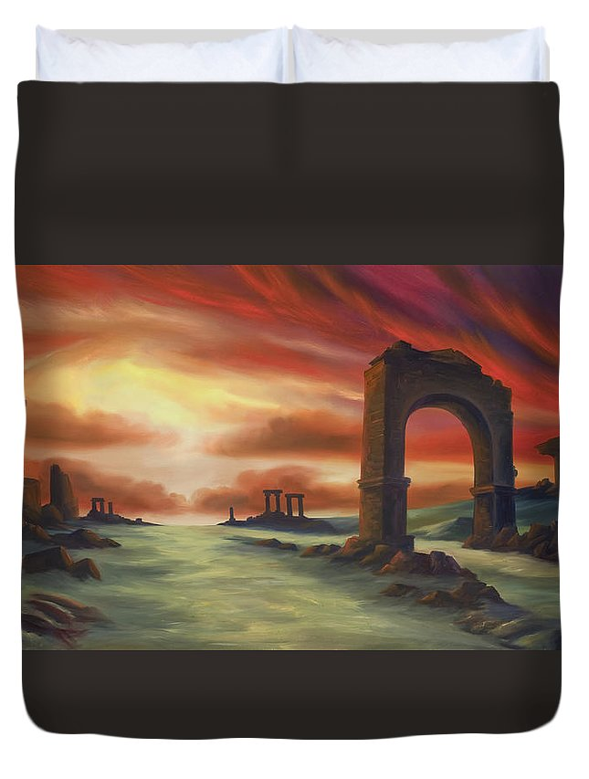 Sunset Duvet Cover featuring the painting Another Fallen Empire by James Christopher Hill