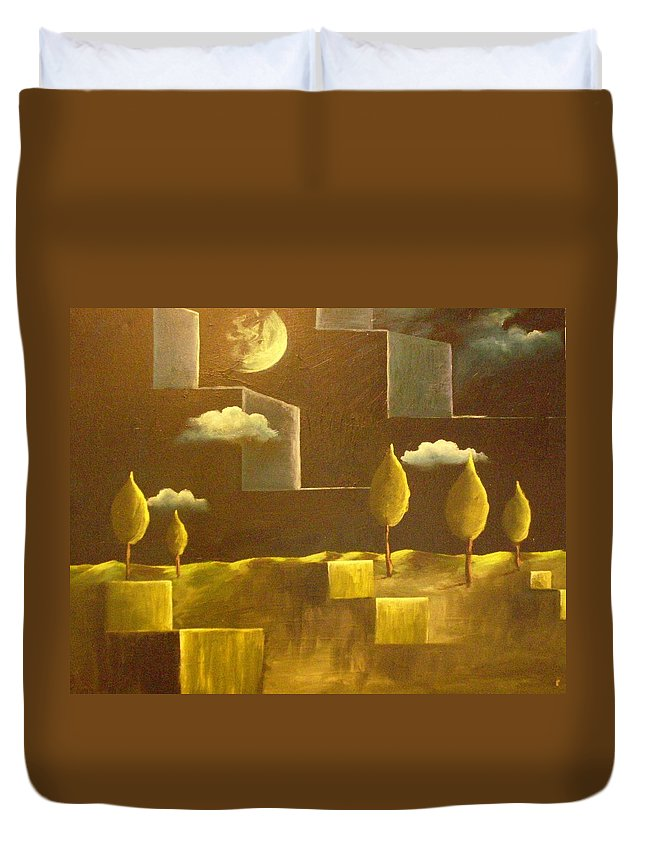 Surrealism Duvet Cover featuring the painting another World by Birgit Schnapp