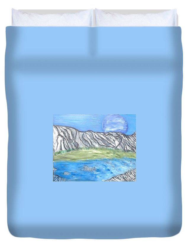 Mountain Duvet Cover featuring the painting Another World by Suzanne Surber