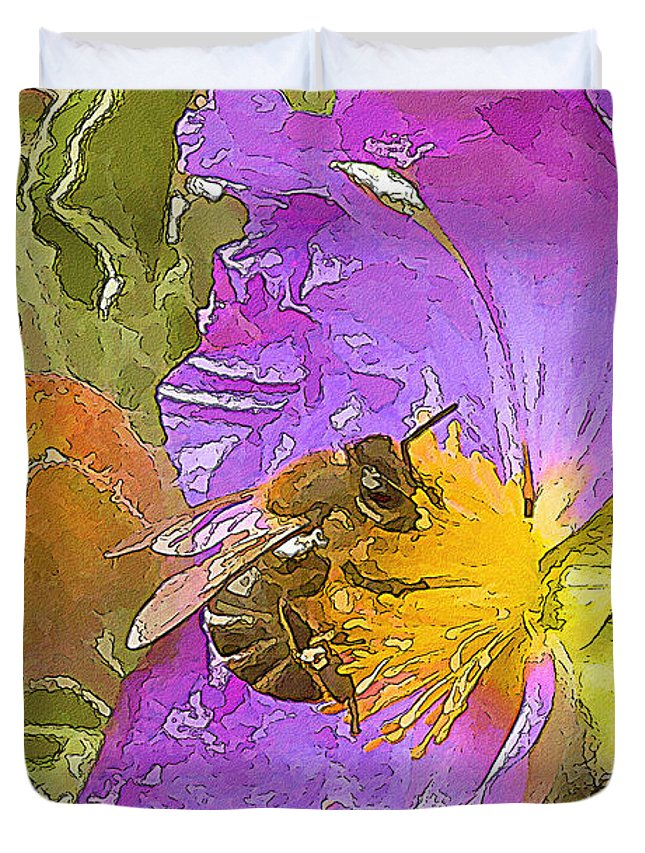 Purple Duvet Cover featuring the painting Answer The Dance by Zygmund Zee