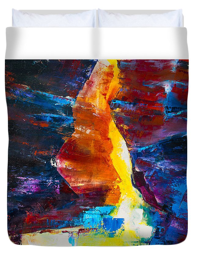 Antelope Duvet Cover featuring the painting Antelope Canyon Light by Elise Palmigiani