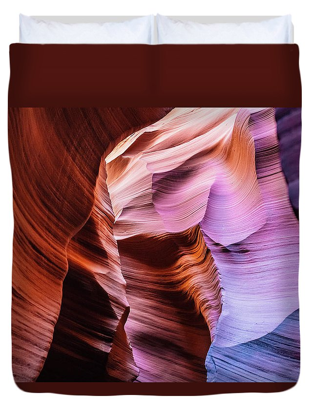 Curve Duvet Cover featuring the photograph Antelope Canyon Spiral Rock Arches by Deimagine