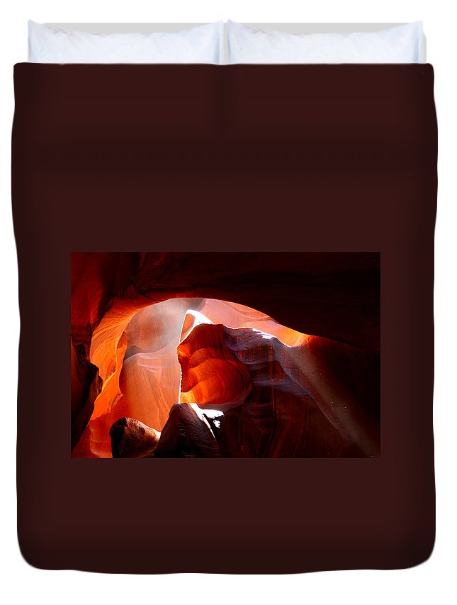 Rock Formation Duvet Cover featuring the photograph Antelope Canyon Sunbeams by Joanna Aud