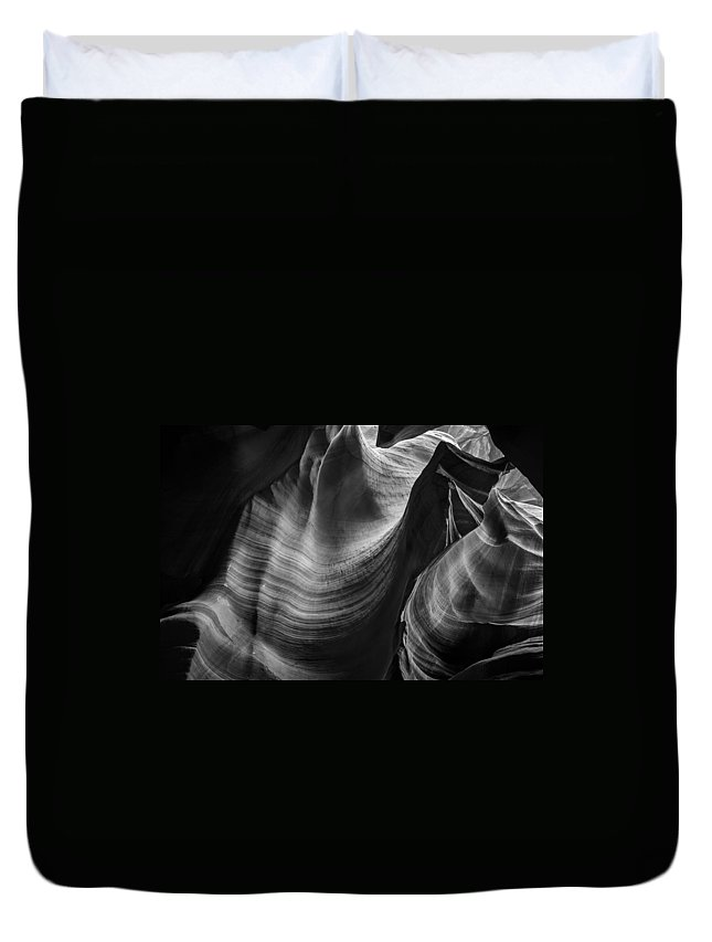 3scape Photos Duvet Cover featuring the photograph Antelope Canyon Waves Black And White by Adam Romanowicz