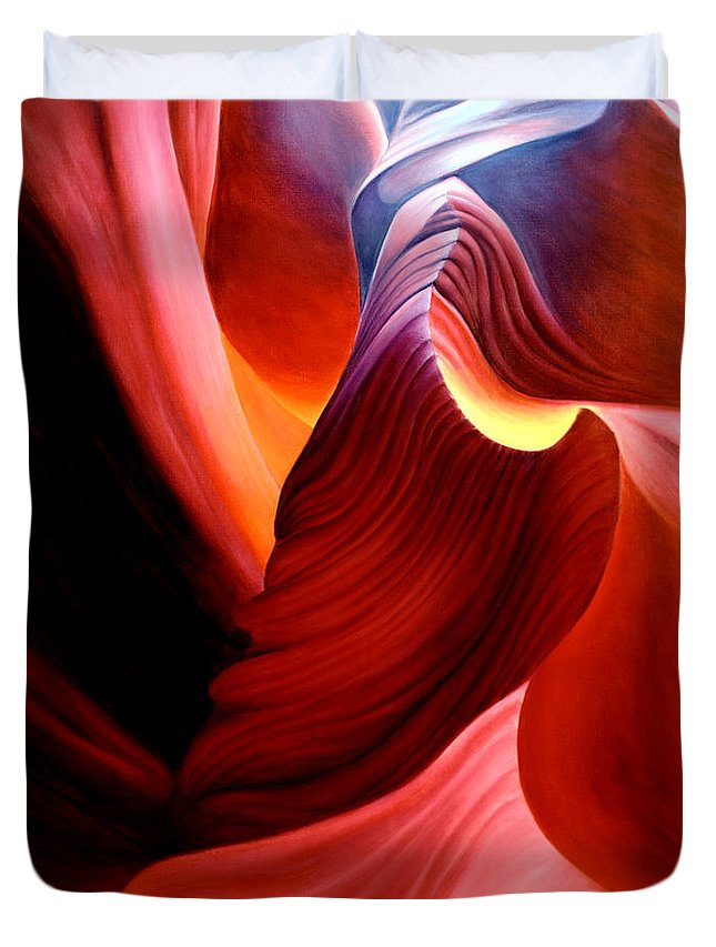 Antelope Canyon Duvet Cover featuring the painting Antelope Magic by Anni Adkins