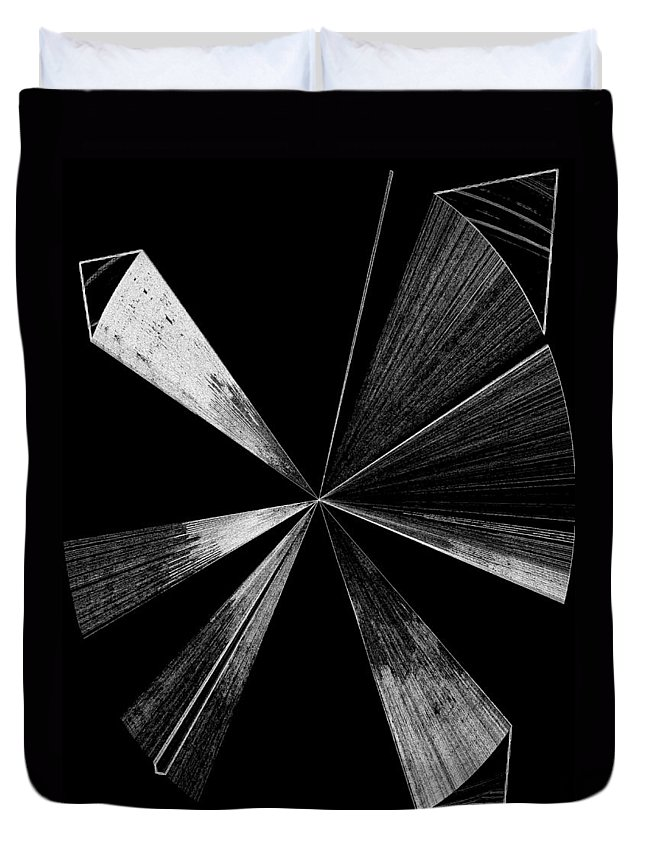 Antenna Duvet Cover featuring the digital art Antenna- Black And White by Will Borden