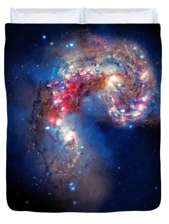 Universe Duvet Cover featuring the photograph Antennae Galaxies Collide 2 by Jennifer Rondinelli Reilly - Fine Art Photography