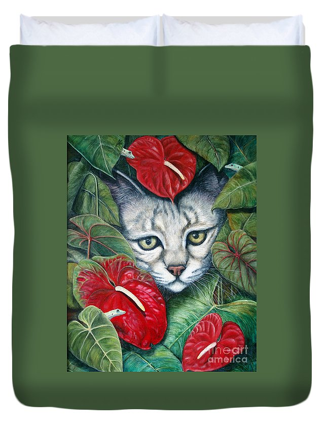 Cat Duvet Cover featuring the painting Anthurium Assassins by Joey Nash