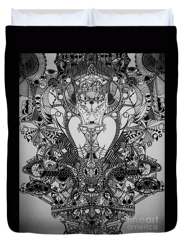 Michael Kulick Duvet Cover featuring the drawing Antichrist by Michael Kulick
