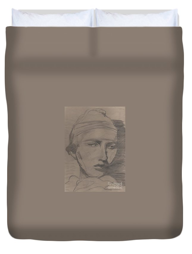 Portrait Duvet Cover featuring the drawing Antigone By Jrr by First Star Art