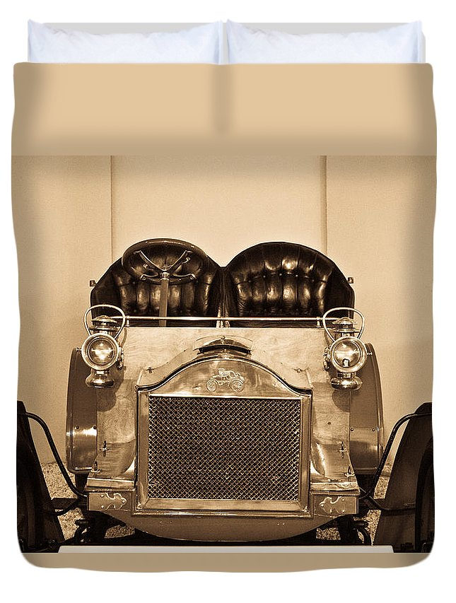 Antique Duvet Cover featuring the photograph Antique Auto In Sepia by Douglas Barnett