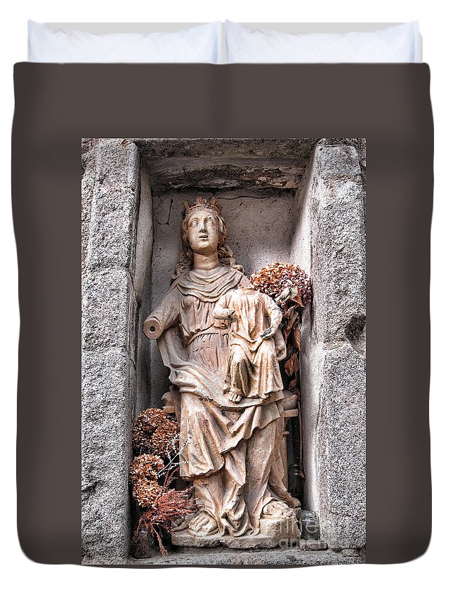 France Duvet Cover featuring the photograph Antique Blessed Virgin Statue by Olivier Le Queinec