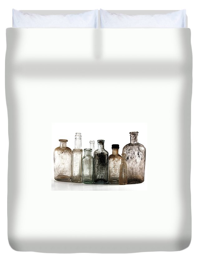 Bottles Duvet Cover featuring the digital art Antique Bottles by Richard Ortolano