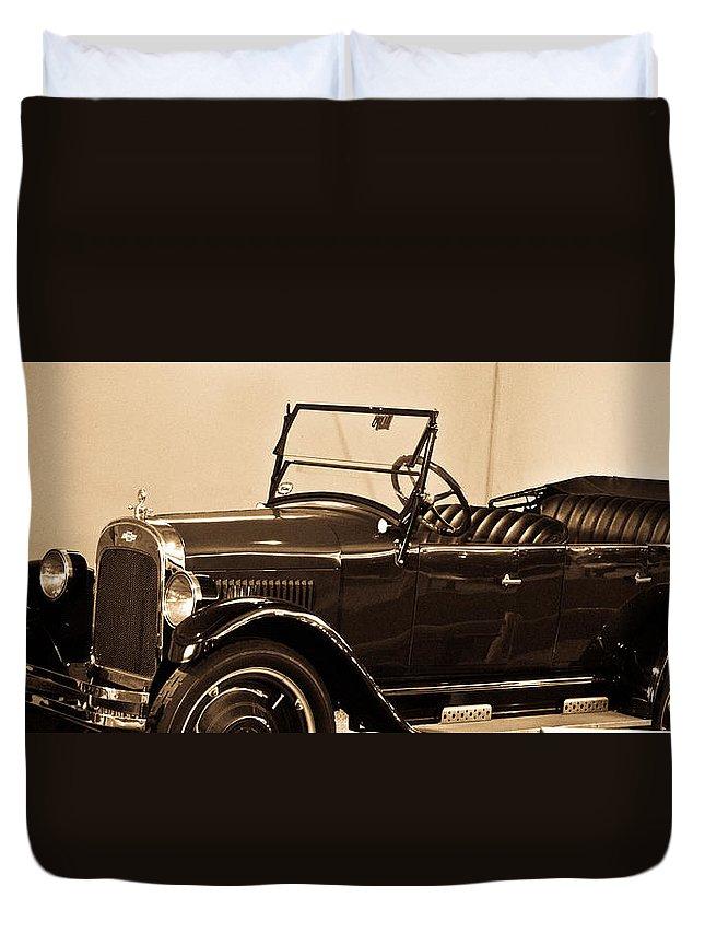 Antique Duvet Cover featuring the photograph Antique Car In Sepia 1 by Douglas Barnett