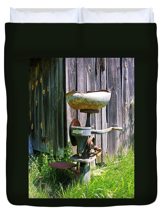 Antique Duvet Cover featuring the photograph Antique Cream Separator by Sherman Perry