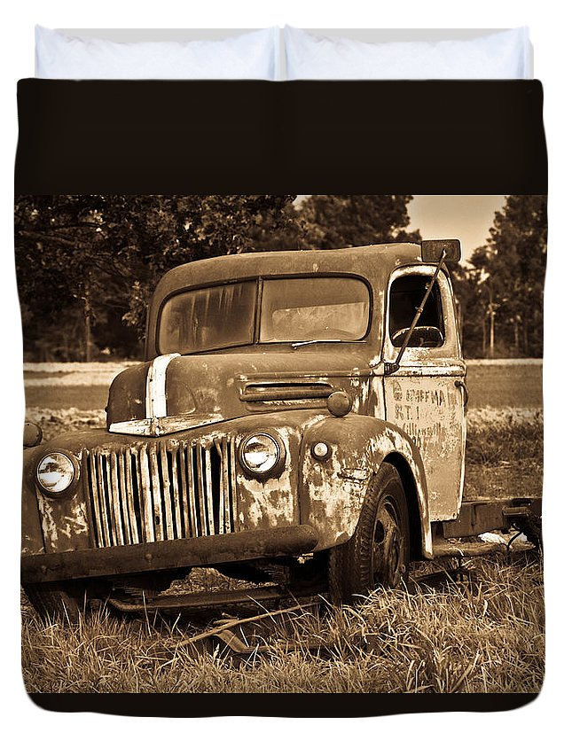 Antique Duvet Cover featuring the photograph Antique Cut Bed Truck In Sepia by Douglas Barnett