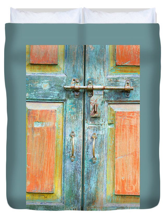 Gate Duvet Cover featuring the photograph Antique Doors by Alexey Stiop