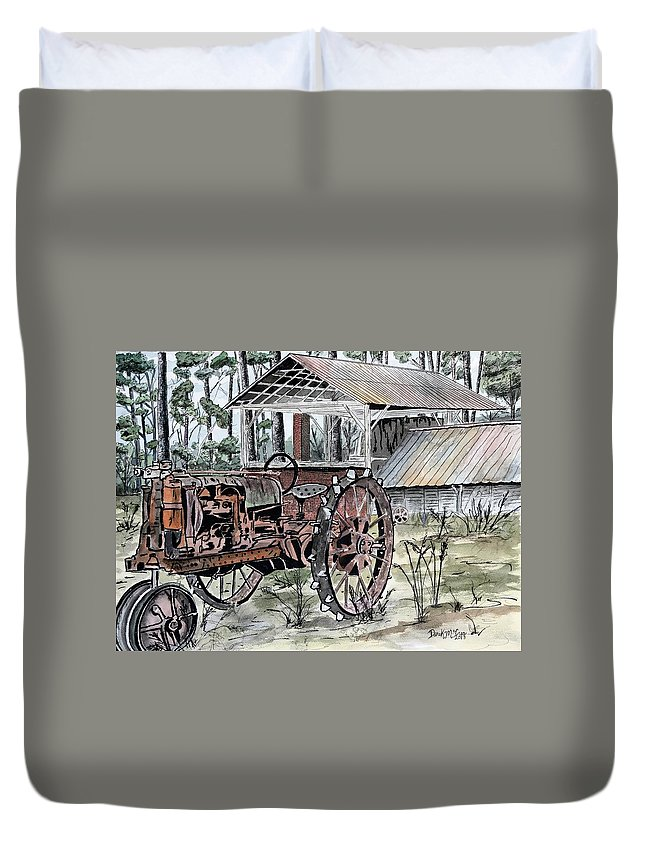 Tractor Duvet Cover featuring the painting Antique Farm Tractor  by Derek Mccrea