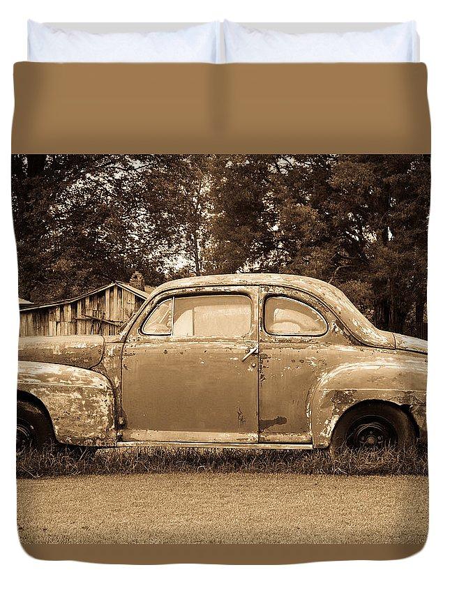 Nostalgia Duvet Cover featuring the photograph Antique Ford Car Sepia 1 by Douglas Barnett