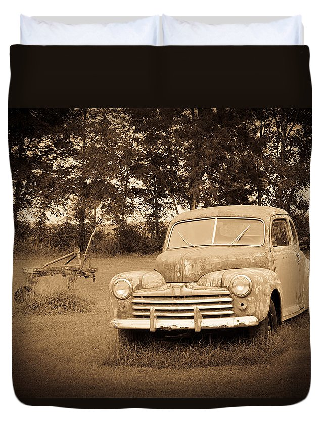 Nostalgia Duvet Cover featuring the photograph Antique Ford Car Sepia 2 by Douglas Barnett
