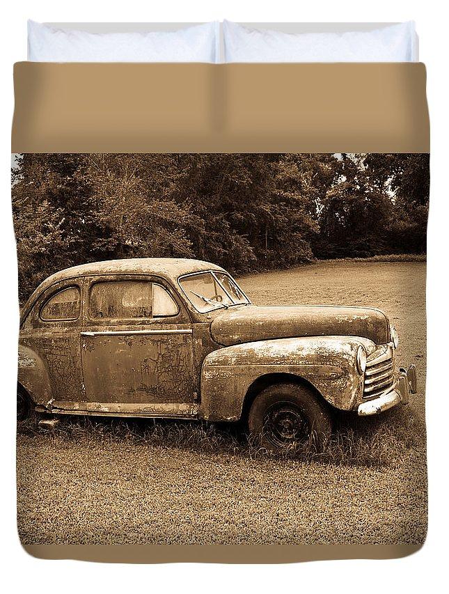 Nostalgia Duvet Cover featuring the photograph Antique Ford Car Sepia 4 by Douglas Barnett